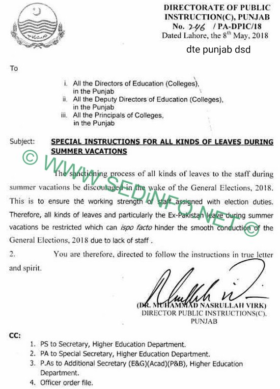 Ban Ex Pakistan Leave Notification 2018