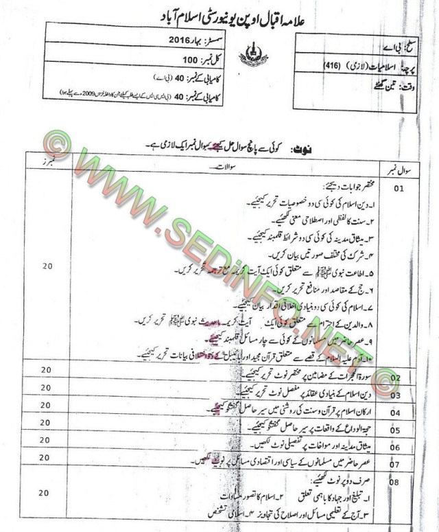 AIOU BA Code 416 Past Papers Spring 2016
