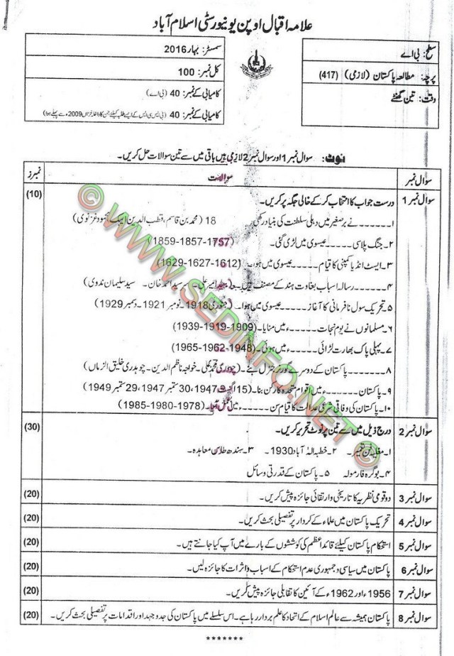 AIOU BA Code 417 Past Papers Spring 2016