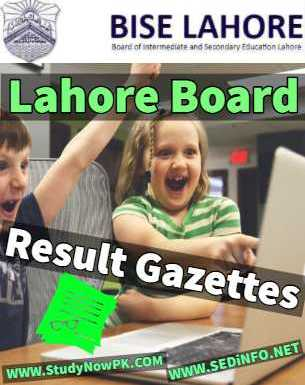Download BISE Lahore Results Gazettes 2018