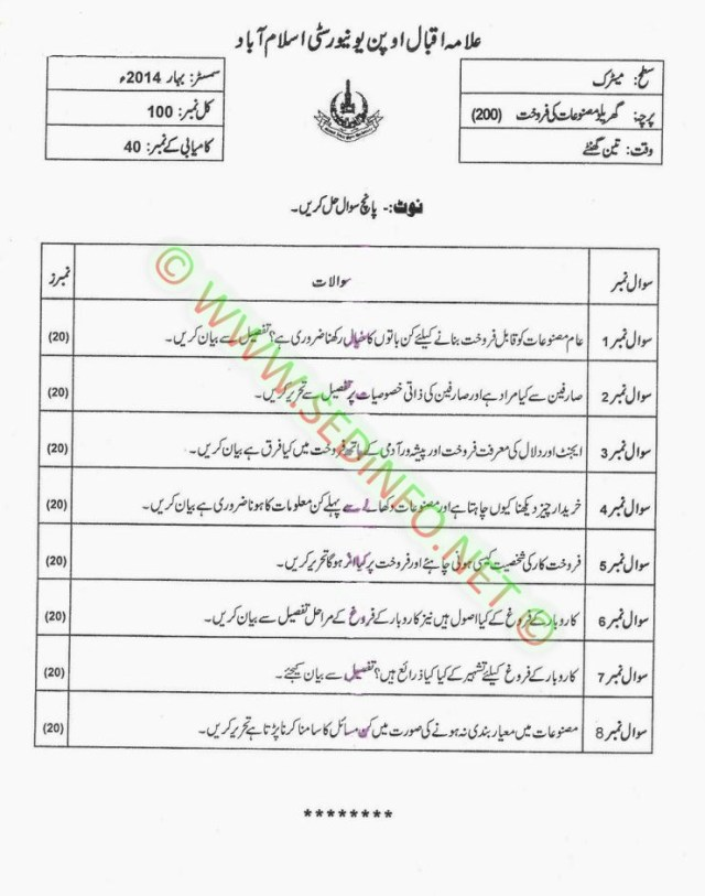 AIOU-Matric-Code-200-Past-Papers-Spring-2014