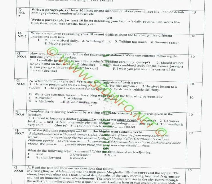 AIOU-Matric-Code-207-Past-Papers-Autumn-2011