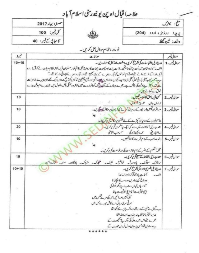 AIOU-Matric-Dars-e-Nizami-Code-204-Past-Papers-Spring-2017