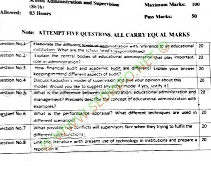 AIOU-Past-Papers-BEd-Code-8616-Spring-2017