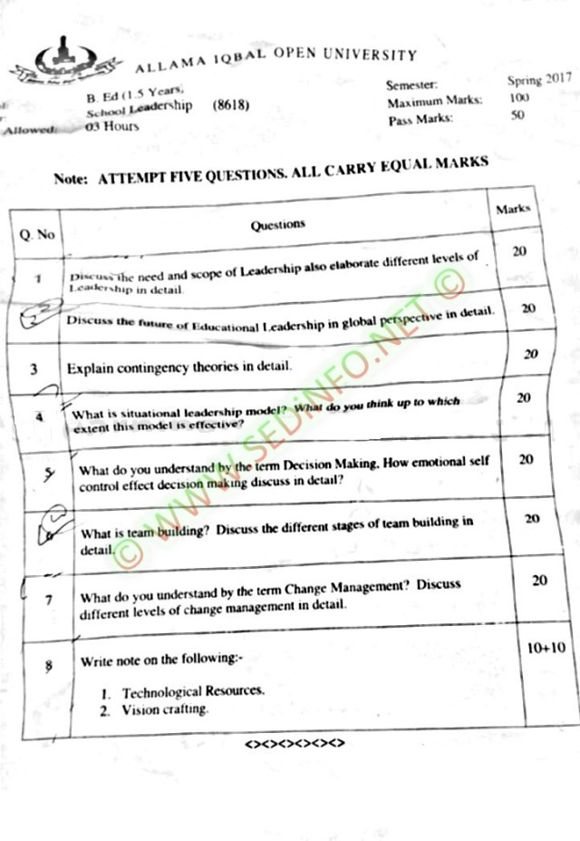 AIOU-Past-Papers-BEd-Code-8618-Spring-2017