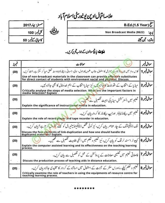 AIOU-Past-Papers-BEd-Code-8622-Spring-2017