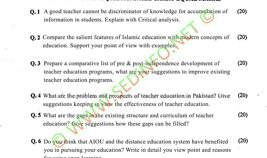 AIOU-Past-Papers-BEd-Code-8626-Spring-2017