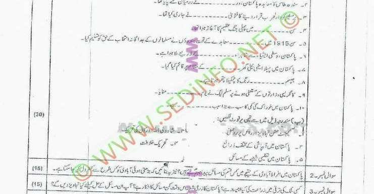 AIOU Matric Code 202 Past Papers Spring 2012