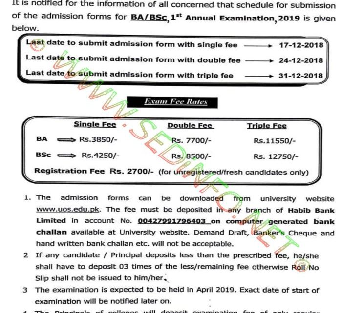 UOS-BA-BSc-Admission-2019-Notification
