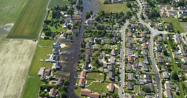 Survol des inondations entre Gidy et Cercottes