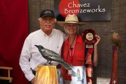 Our Overall Best of Show Winner, Kim Chavez of Chavez Bronzeworks, with Sedona Mayor Rob Adams. Kim will take home a $250 cash prize and will have a complimentary booth space at next year's festival!
