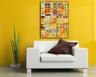 """A beautiful NJoyFractals collection of Rust colored Spirals and Swirls interlaced with brilliant browns, oranges and mustard colors. """"Novatum"""" is randomly splashed with hints of blues and purples and includes the perfect palette of colors to lighten your room with warm tones and eye popping pastel highlights. Original Size 28""""x 38"""" Giclee Print on Metal. Signed and Numbered. Custom sizes are available."""