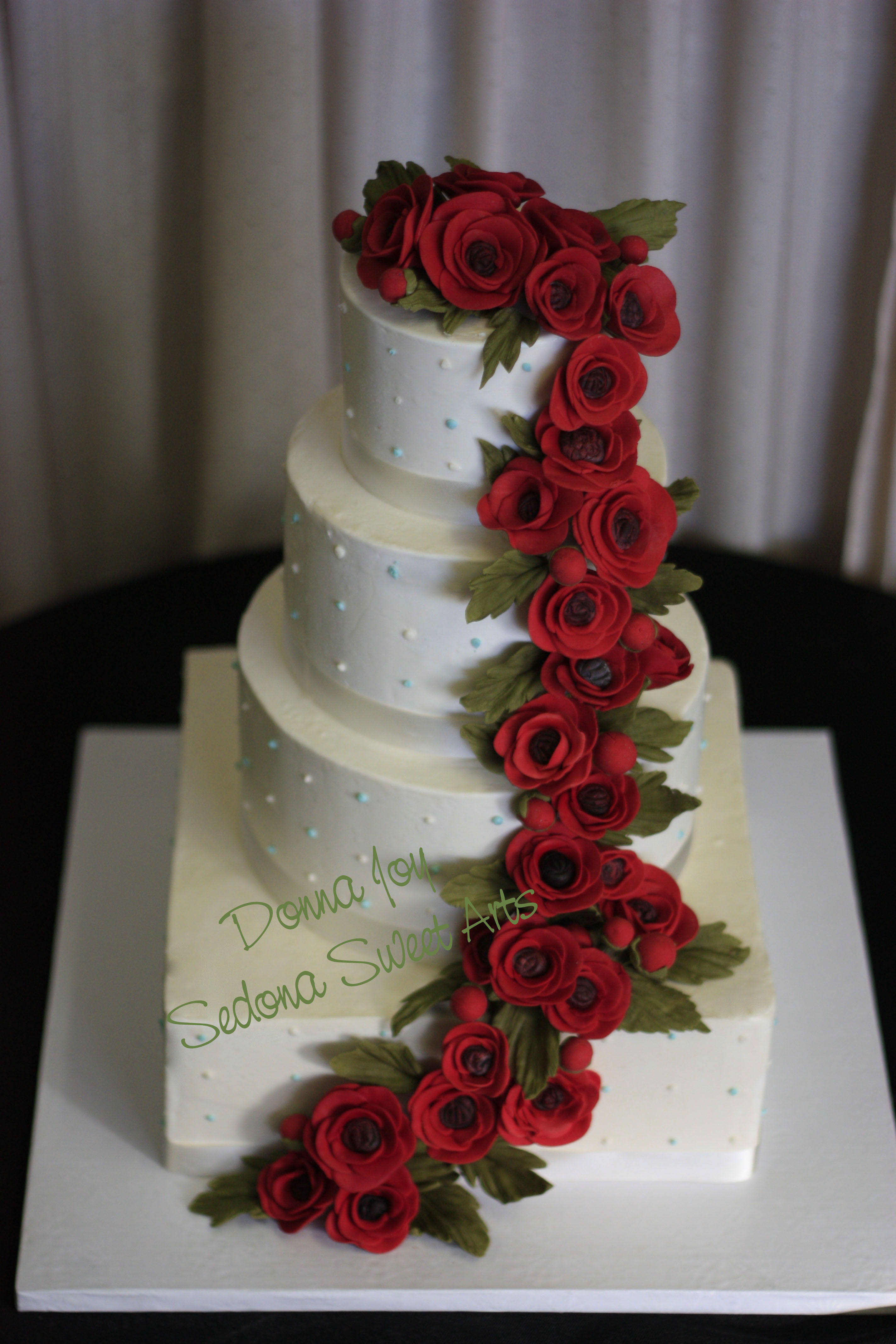 Red Sugar Ranunculus Wedding Cakes Sedona Wedding Cakes
