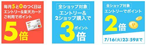 19/7/15-5のつく日+α【楽天市場】キャンペーン・イベント詳細とポイント攻略情報まとめ