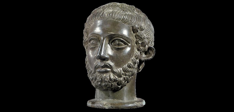 Testa votiva di uomo con barba