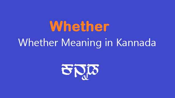 Whether Meaning in Kannada