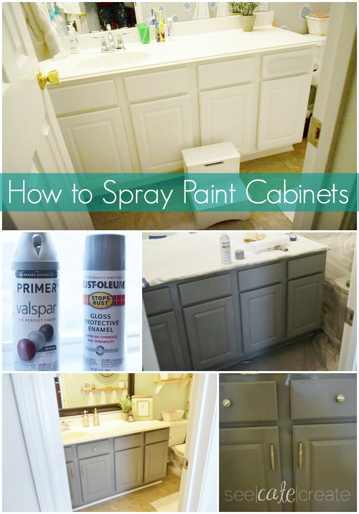 Painting Bathroom Cabinets Youtube how to spray paint cabinets|bathroom makeover