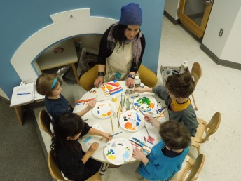 Kindergartners learning about murals took inspiration from Sol Lewitt and tried out his techniques on a smaller scale.
