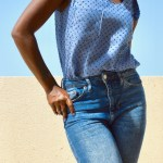 Seamwork Gretta Tank in Swiss Dot Chambray