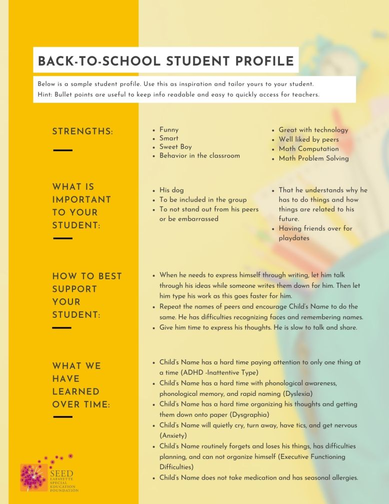 back to school student profile form