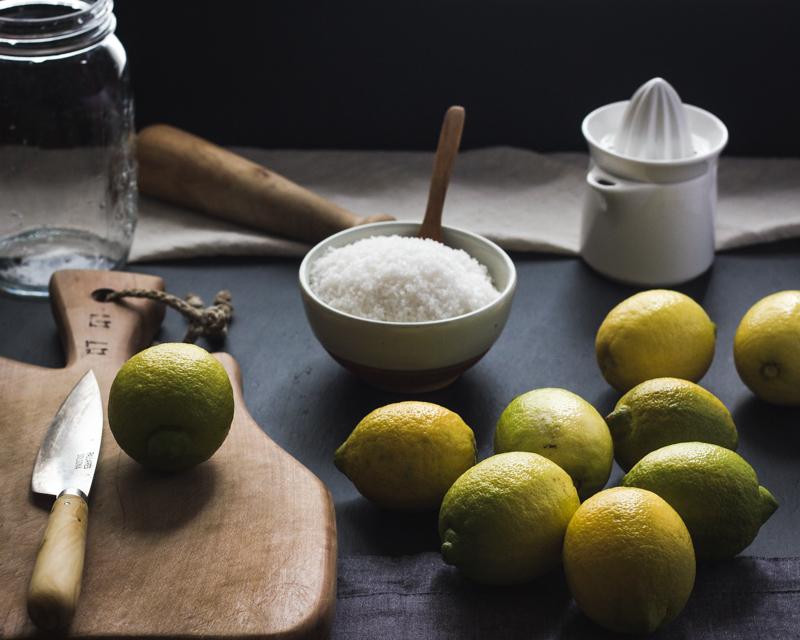 Ingredients for preserved lemons