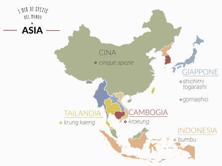 Mappa dei mix di spezie usati in Asia