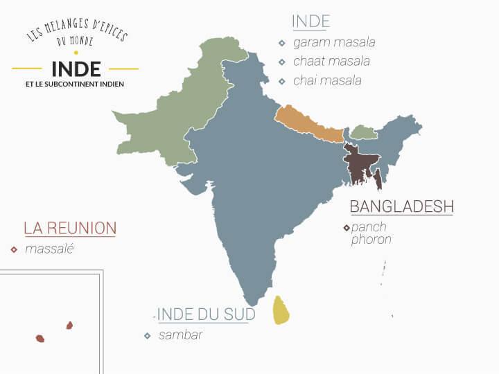 map de l'inde avec ses mélanges d'épices