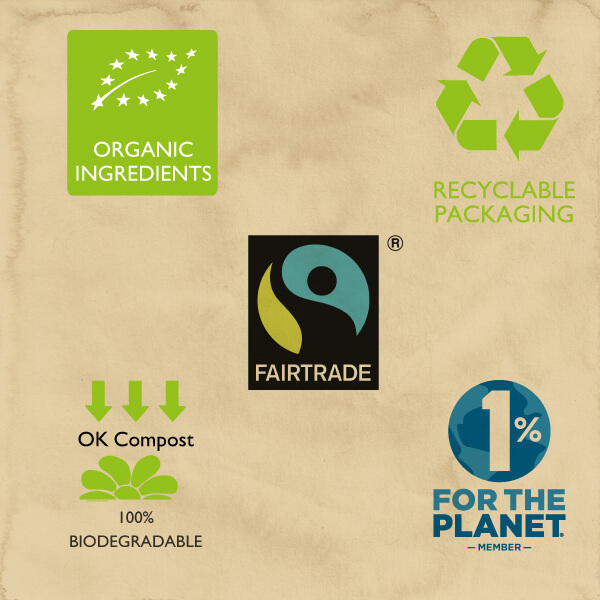 Logos of organisations engaged in green, fairtrade, and sustainability practices
