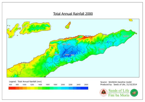 Total annual rainfall 2000