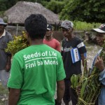 Antonio Jose Maya and Jose Decarvahlo  amongst others receive sweet potato and kasava cuttings were provided to a second group in the Balibo sub-district of Bobonaro district, close to the Indonesian border
