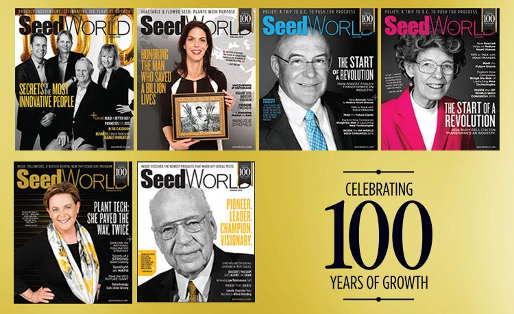 Six founders were celebrated as part of the 2015 cover lineup: Harry Stine (January), Norman Borlaug (February), Mary-Dell Chilton and Robb Fraley (June), Bernice Slutsky (September) and Owen Newlin (October).