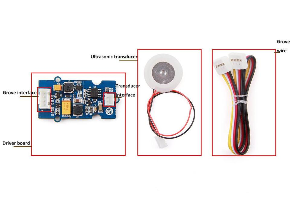 medium resolution of transducer interface connect ultrasonic transducer to with driver board grove wire connect main control board with driver board