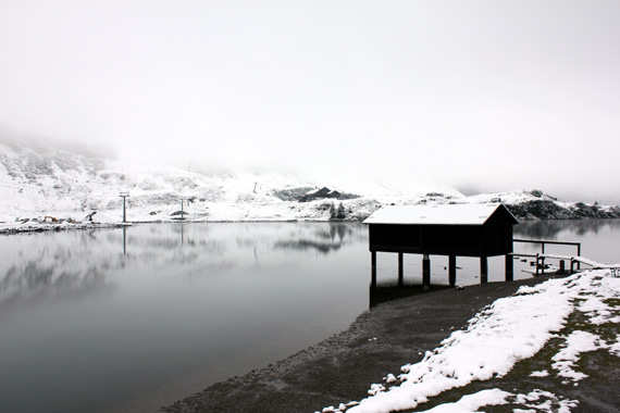 snowy swiss lake