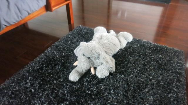 Black and silver shag rug