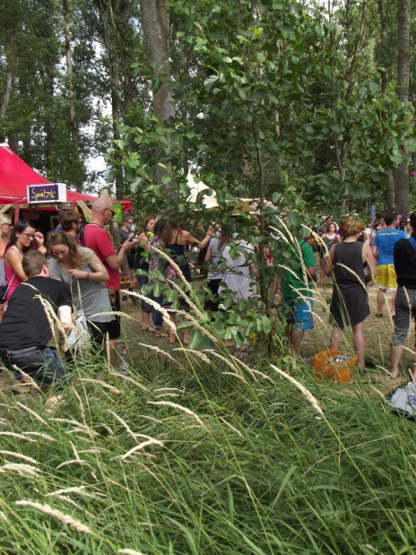 Festival community beneath groves of willows and beeches. Photograph: Adrian Franco.