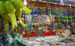 Decorations are sold at a stall at a market