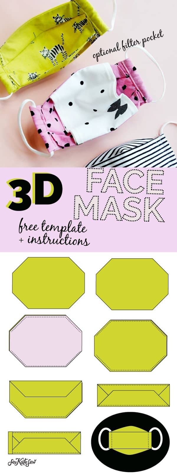 Free 3d Mask Pattern Pdf : pattern, Template, Comfortable