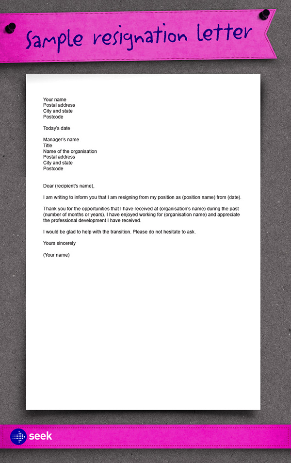 The importance of resigning on good terms  how to write a resignation letter  SEEK Career Advice