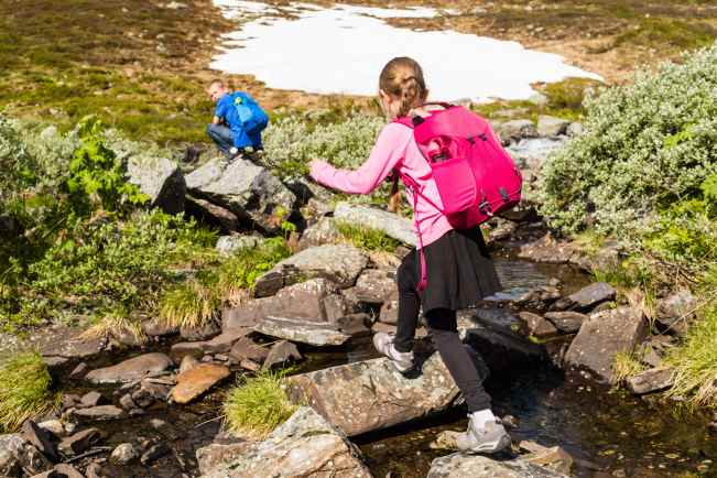 Children hiking in Norway