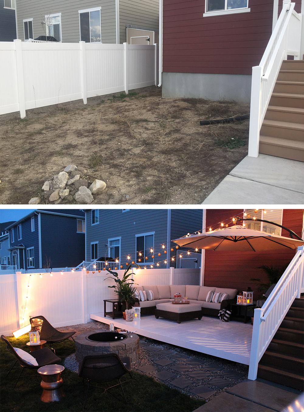 Backyard transformation before after seeking alexi diy for Garden decking before and after