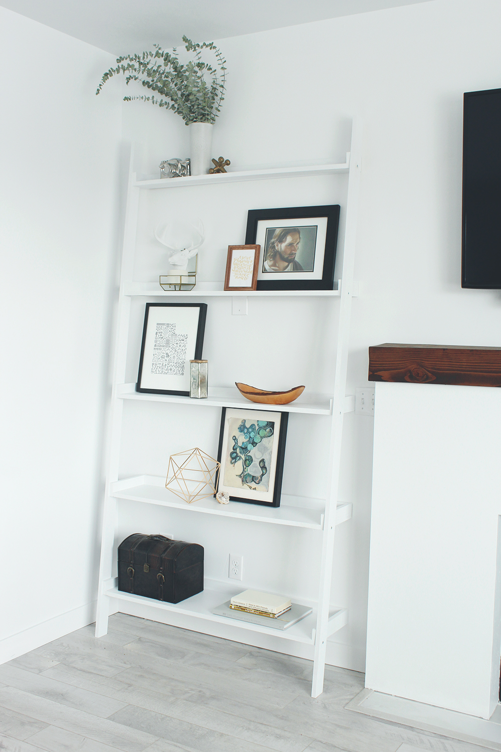 Easy diy ladder shelves made without a table saw seeking alexi i just submitted my finished family room post to home depots blog yesterday and i cannot wait to share with you the reveal of my entire room solutioingenieria Gallery
