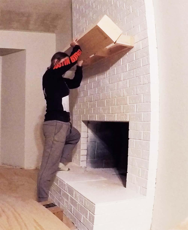 Sensational Easy Diy Floating Wood Mantel On Brick Fireplace Seeking Home Remodeling Inspirations Basidirectenergyitoicom