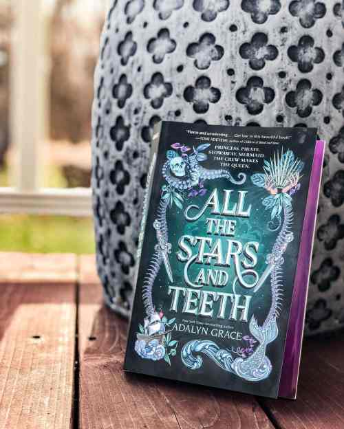 The book All the Stars and Teeth leaning against a stone column.