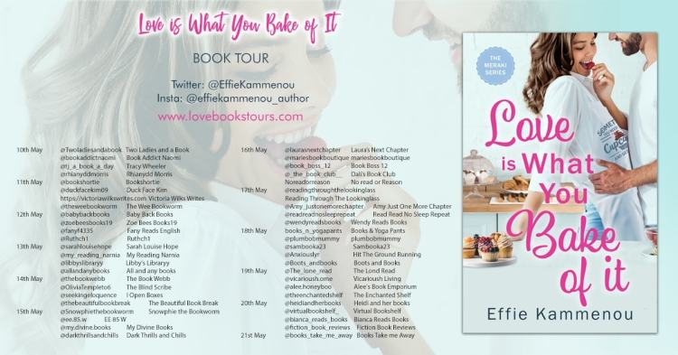 Book Tour graphic for the book Love is What You Bake of it.