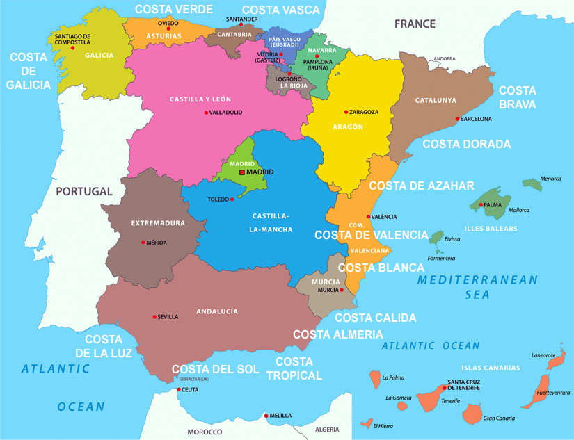 The different regions of Spain map