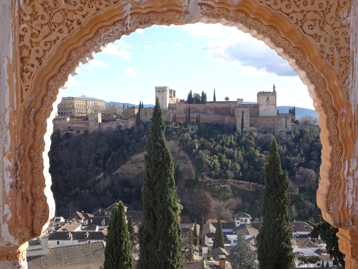 A view of the syunning Alhambra in Granada, Spain