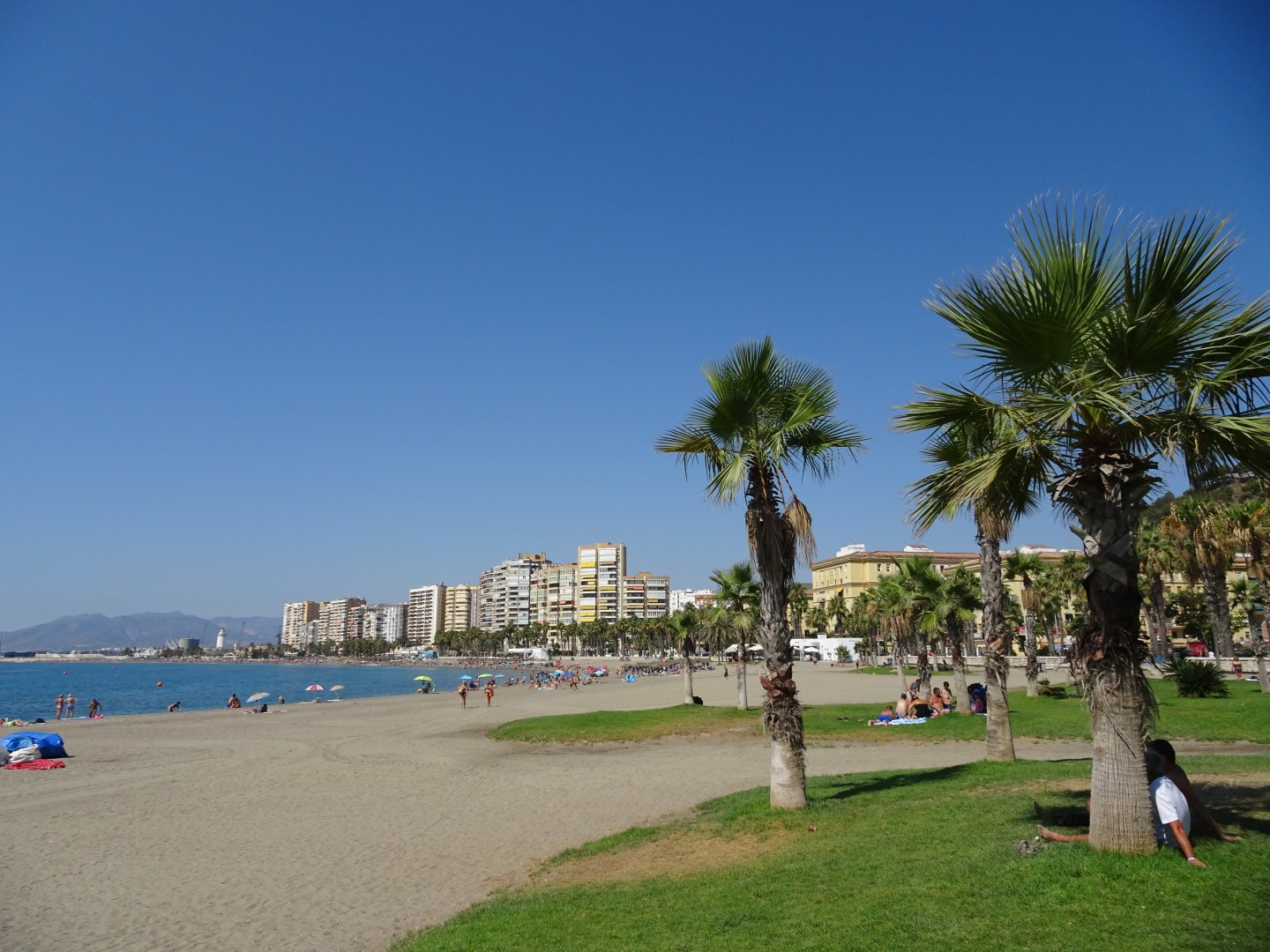 Malagueta beach in malaga, Spain
