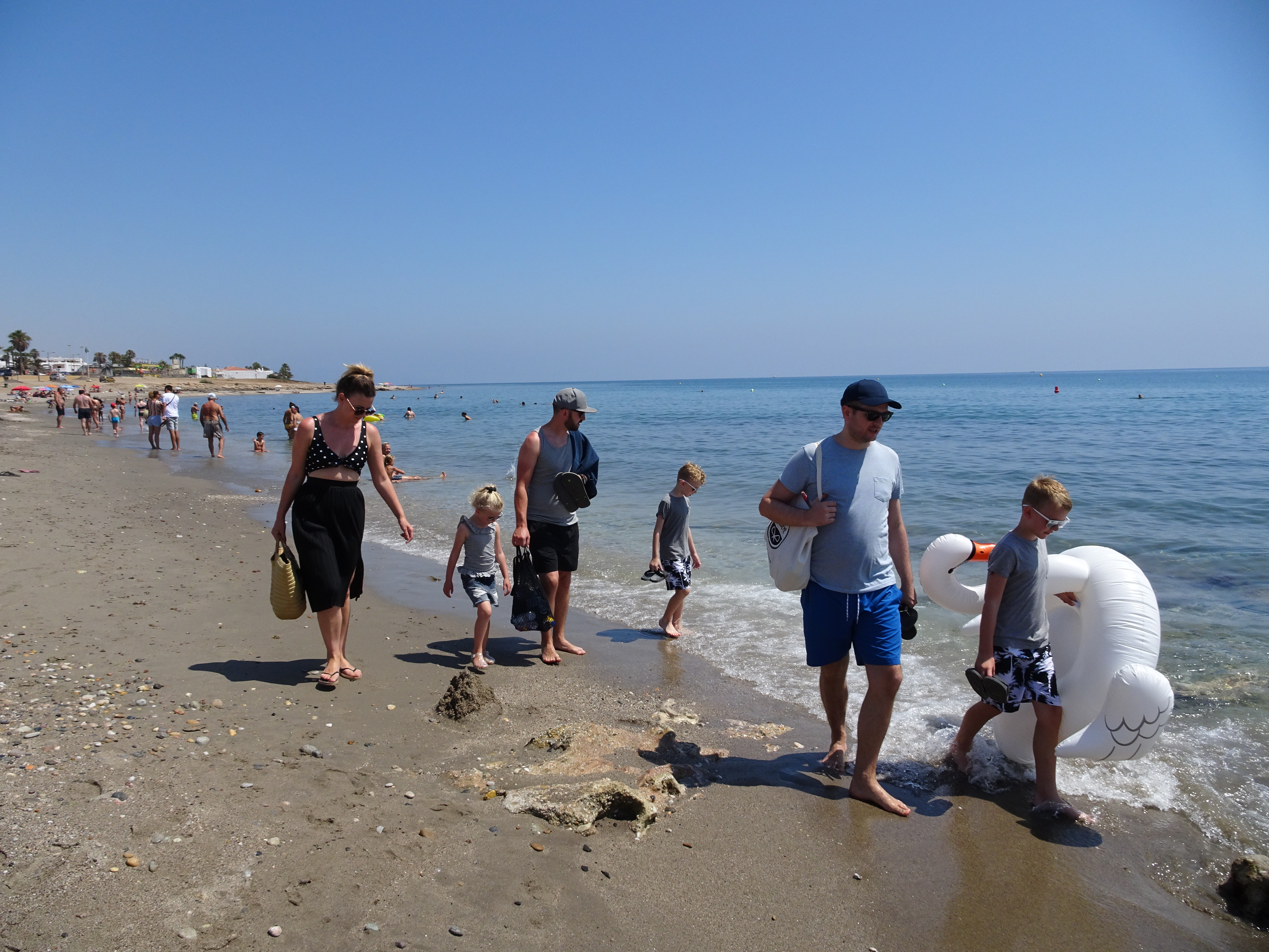 family outing to the beach in Mojacar