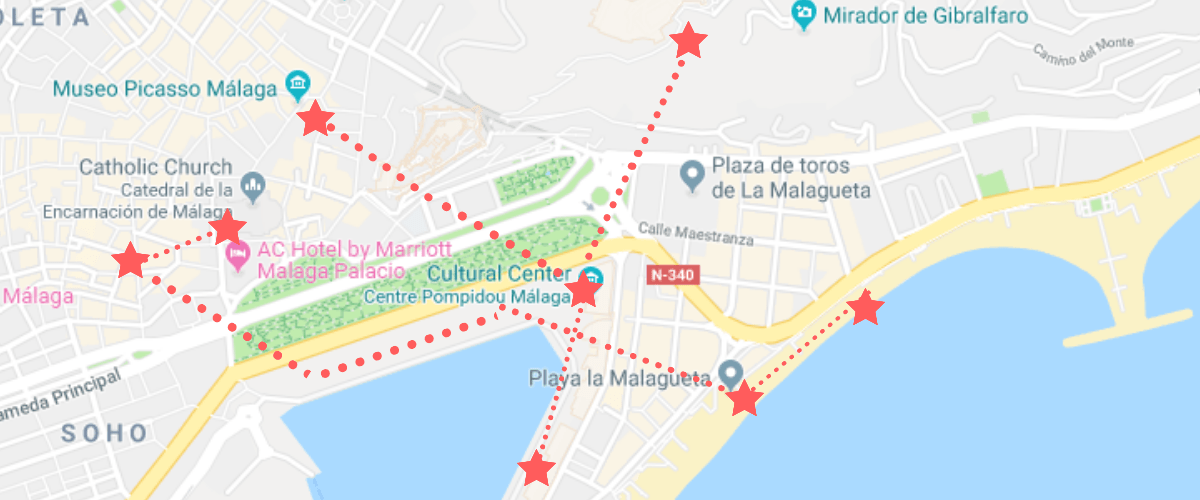 Self guided walking tour of Malaga