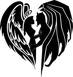 devil love logo vector